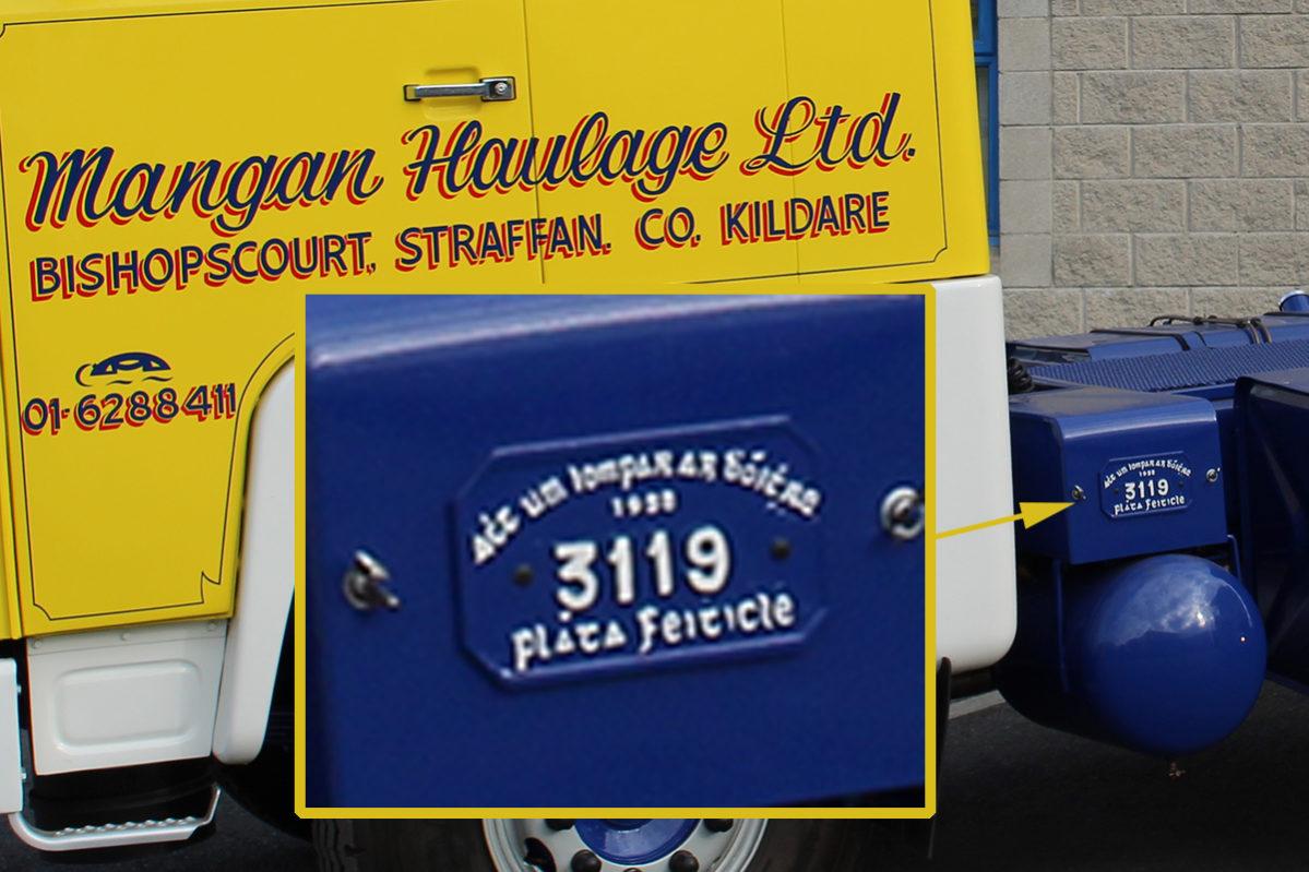 mangan haulage old licence plate